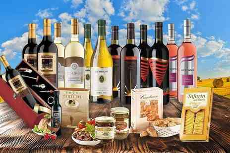 Giordano Wines - A 12 bottle Italian wine and food hamper with a sommelier set - Save 56%