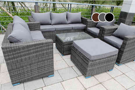 Dreams Living - An eight seater rattan garden set choose from grey and brown - Save 49%