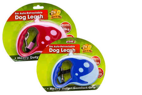 Ckent - An auto retractable dog lead in three or five metres and in blue or pink - Save 71%