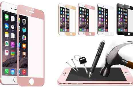 Groupon Goods Global GmbH - Tempered Glass with Colour Matching Frame for iPhone 6,7 or 6,7 Plus - Save 84%