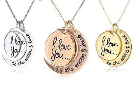 Groupon Goods Global GmbH - Silver Plated I Love You To The Moon and Back Necklaces - Save 80%