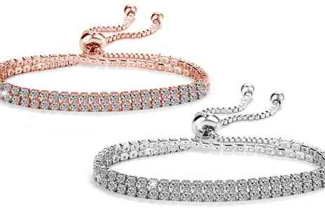 Groupon Goods Global GmbH - One or Two Philip Jones Double Row Solitaire Friendship Bracelets - Save 77%