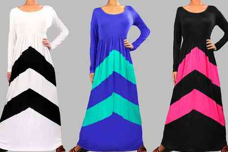 Groupon Goods Global GmbH - Long Sleeve Chevron Maxi Dress in Choice of Colour and Size - Save 0%