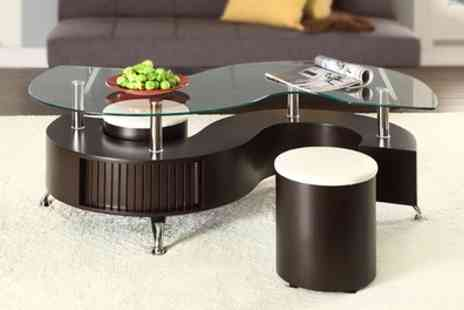 Groupon Goods Global GmbH - Madrid S Coffee Table with Stools in Choice of Colour - Save 71%