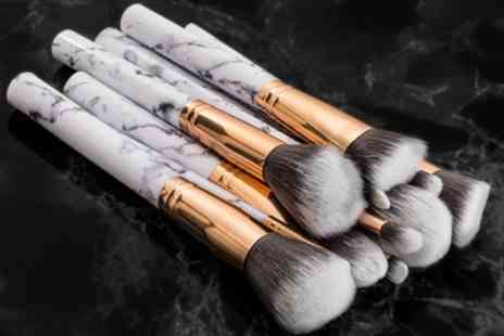Groupon Goods Global GmbH - 10 or 20 Piece Marble Effect Make Up Brush Set - Save 60%