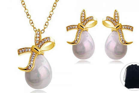 YEPKO - 2 Piece Swarovski Elements Knotted Pearl Set - Save 75%