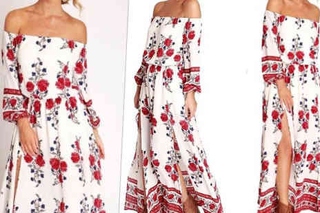 Bonicaro Design - Floral Bardot Side Split Maxi Dress - Save 68%