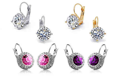 Trendy Banana - Set of 4 Leverback Crystal Earrings - Save 87%