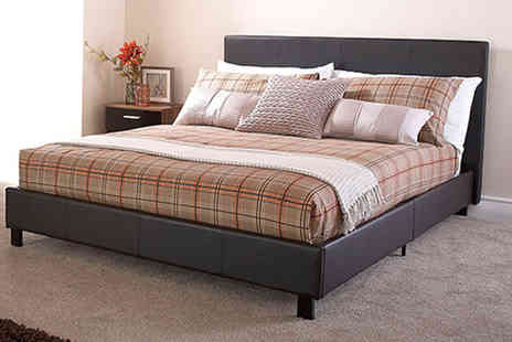 FTA Furnishing - Five piece Monaco bed set select from four sizes and get a bed, memory foam mattress, 10.5 tog duvet and two pillows - Save 70%
