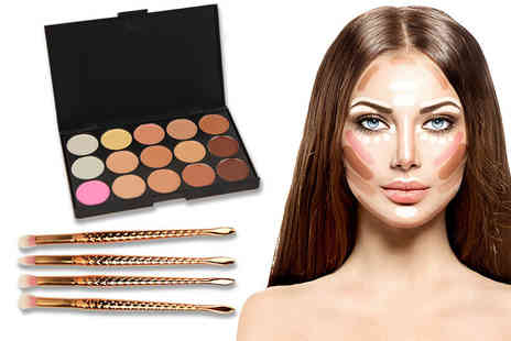Alvis Fashion - 15 shade contour palette and mermaid eye shadow brushes - Save 90%