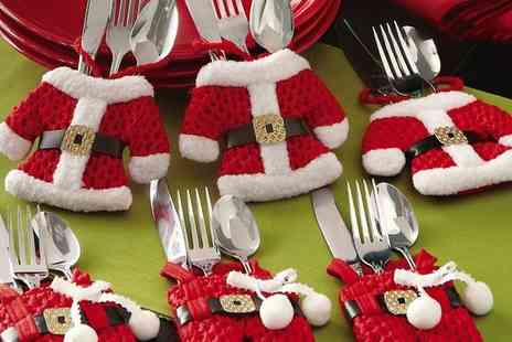 Groupon Goods Global GmbH - Santa Claus Cutlery Holder Socks - Save 80%