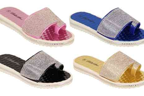 Groupon Goods Global GmbH - Womens Diamante Jelly Slip On Sandals - Save 0%