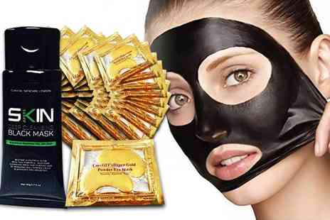 Forever Cosmetics - 50ml tube of blackhead peel off mask with 40 crystal gold collagen eye masks - Save 81%