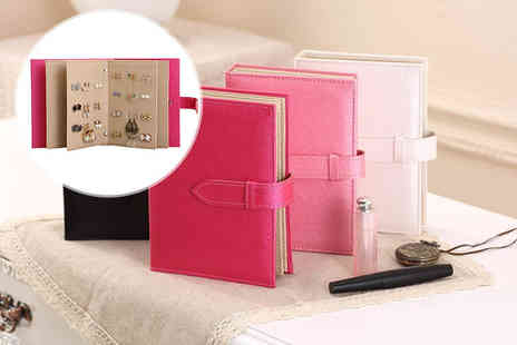 Jewleo - PU leather earring storage book choose black, white, pink or fuchsia - Save 70%