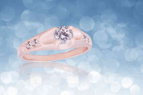 Your Ideal Gift - Rose gold plated ring with crystals from Swarovski - Save 88%