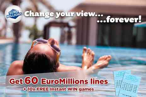 Hatchster - 60 syndicated EuroMillions lines over two draws and 10 instant win games with chances - Save 58%