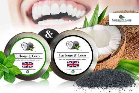 Tonk Stuff - Two 50ml tins of activated charcoal whitening powder - Save 87%
