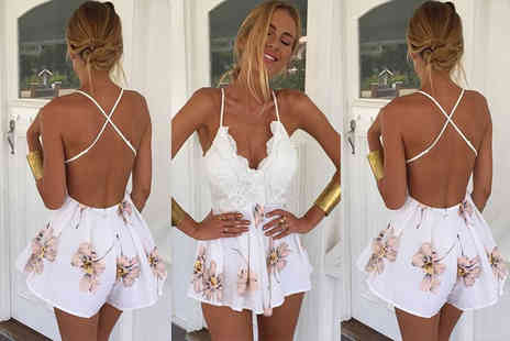 Verso Fashion - Floral backless summer playsuit - Save 68%