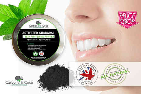 Tonk Stuff - 30ml tub of Carbone & Coco charcoal teeth whitening powder - Save 84%