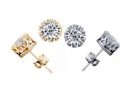 Groupon Goods Global GmbH - Simulated Diamond Crown Earrings in Choice of Colour - Save 75%