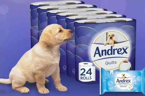 Groupon Goods Global GmbH - Up to 96 Rolls of Andrex Toilet Paper with up to Three Packs of Andrex Washlets - Save 47%