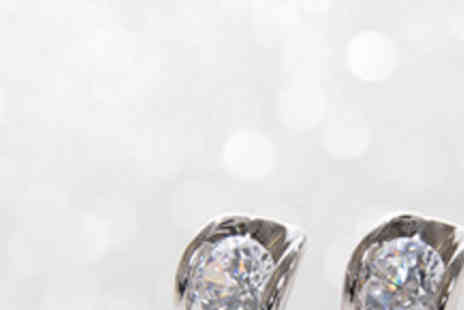 Envy Accessories - White Gold Earrings with Swarovski Zirconia Crystals - Save 77%