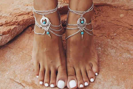 Jewleo - Vintage Style Anklet with Turquoise Beads - Save 80%