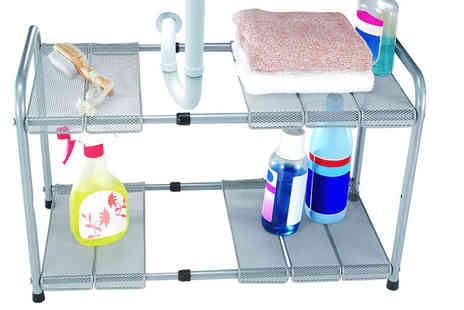 Funky Buys - A two tier adjustable and expandable under the sink shelf - Save 62%