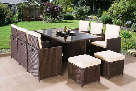 Giomani Designs - 11 piece rattan furniture set in black or brown - Save 71%