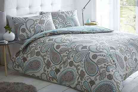 MAS International - Single, double, king or super king size Paisley duvet cover with pillow case bedding set - Save 72%
