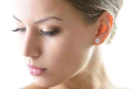 Groupon Goods Global GmbH - Womens Sterling Silver Round or Square Halo Stud Earrings - Save 72%