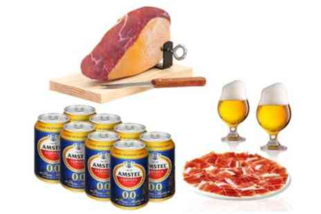 Groupon Goods Global GmbH - 1kg Mini Cured Ham and Eight Cans of 00 percent Alcohol Amstel Beer - Save 37%