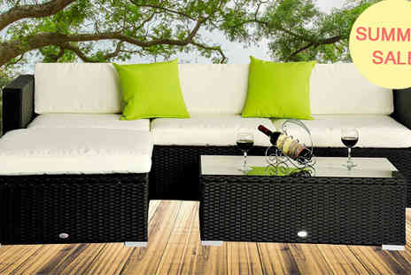 MHStar Uk - Grey Outsunny 5 Pc Garden Rattan Furniture - Save 50%