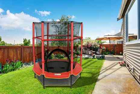 Who Needs Shops - 4.5ft diameter childrens trampoline with safety net and red cover - Save 77%