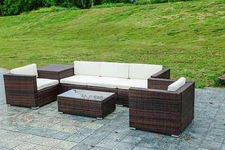Evre - Seven piece modular rattan set with storage choose from two colours - Save 67%