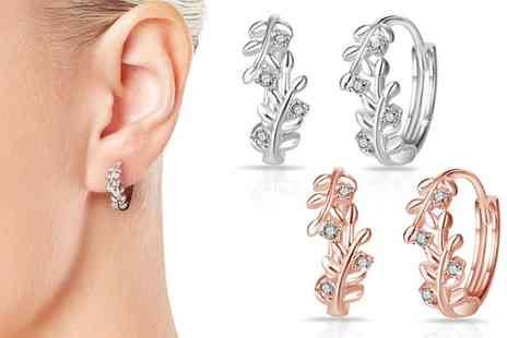 Groupon Goods Global GmbH - Philip Jones Leaf Hoop Earrings with Crystals from Swarovski - Save 87%