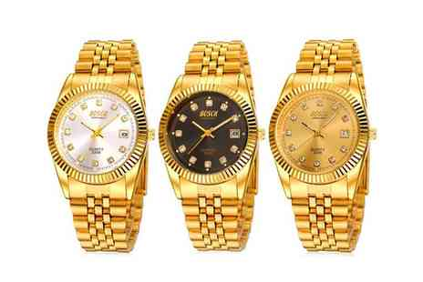 Groupon Goods Global GmbH - Mens Gold Plated Quartz Watch - Save 83%