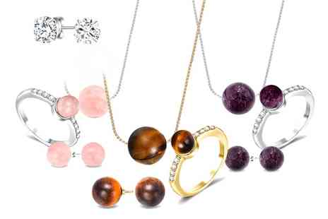 Neverland Sales - Natural Stone Set with Crystals From Swarovski With Free Delivery - Save 82%