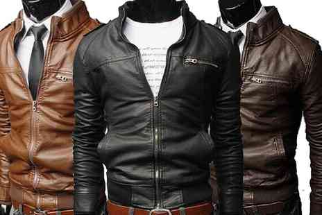 Groupon Goods Global GmbH - Mens Faux Leather Biker Jacket - Save 60%