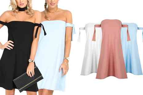 Groupon Goods Global GmbH - Be Jealous Bardot Tie Sleeve Dress Available up to Size 26 - Save 0%