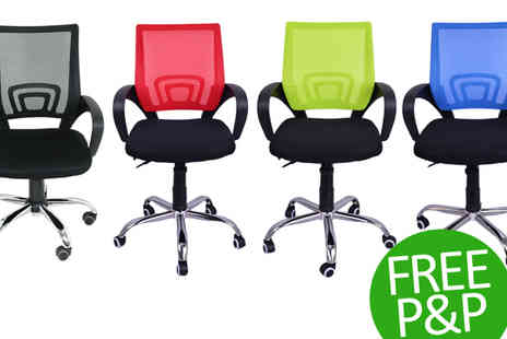 lolbargain - Black Mesh Office Chair Medium Back with Armrests - Save 60%