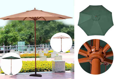 FDS Corporation - 3m wooden patio umbrella  choose beige, green or sand - Save 55%