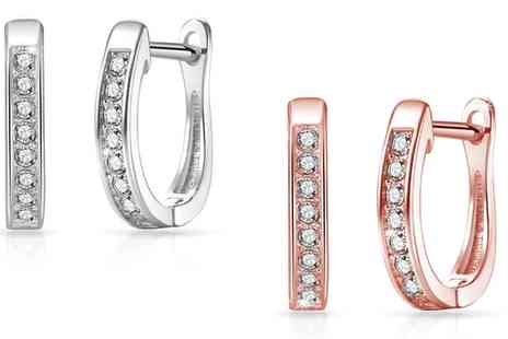 Groupon Goods Global GmbH - One or Two Pairs of Philip Jones Channel Hoops with Crystals from Swarovski - Save 85%