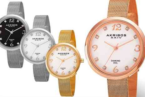 Groupon Goods Global GmbH - Akribos Womens Round Mother of Pearl Bracelet Watch With Free Delivery - Save 84%
