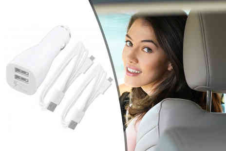 handtec - Samsung dual port fast in car charger and two micro USB cables - Save 42%
