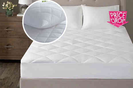 Home Furnishings Company - Microfibre quilted mattress protector select from five sizes - Save 85%