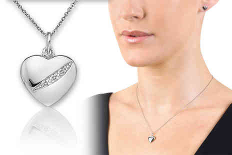 Brand Logic - Hot Diamonds sterling silver necklace choose from two diamond encrusted designs - Save 56%