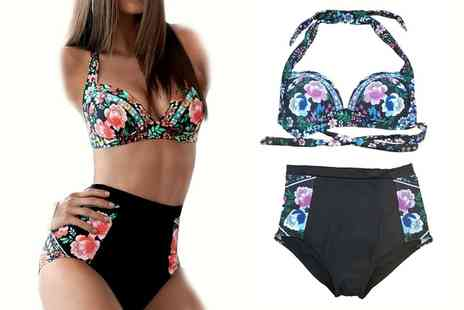Groupon Goods Global GmbH - Womens Floral High Waist Bikini in Choice of Colour - Save 0%