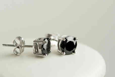 Evoked Design - Pair of lab created black sapphire stud earrings with 18ct white gold plated fittings - Save 91%