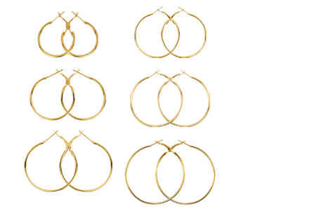 Solo Act - Set of six graduated hoop earrings - Save 67%